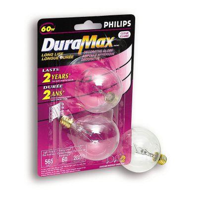 Duramax 60 Watt G16 Clear Candelabra Incandscent Globe Light Bulb 2 PK