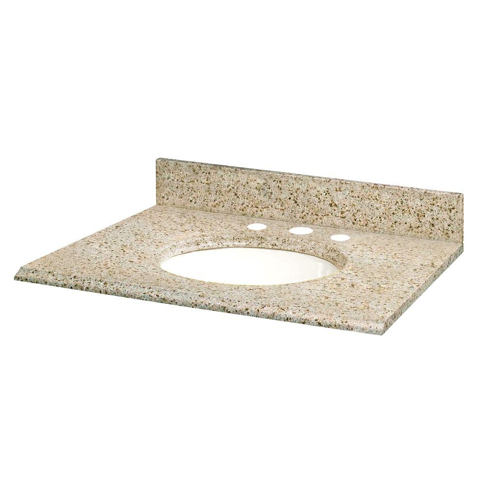 GLACIER BAY 49-inch W Granite Vanity Top in Beige with White Basin