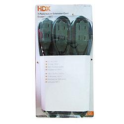 HDX Ensemble de 3 rallonges électriques dintérieur pour service léger