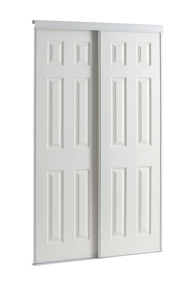 48-inch White Framed 6-Panel Sliding Door