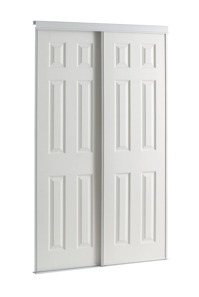 72 Inch White Framed 6-Panel Sliding Door