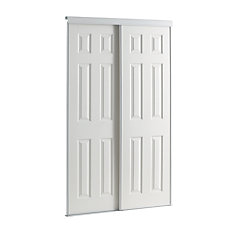 72 Inch White Framed 6 Panel Sliding DoorShop Interior Doors At HomeDepot  Ca The Home Depot Canada