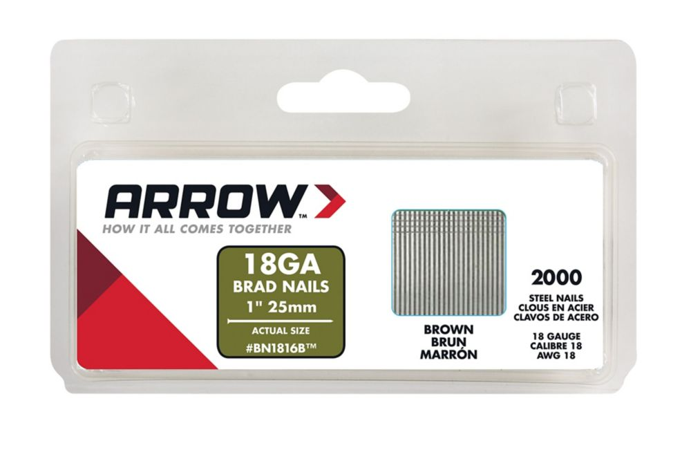 Arrow 1 Inch Brad Nails (2000 Pack) Brown