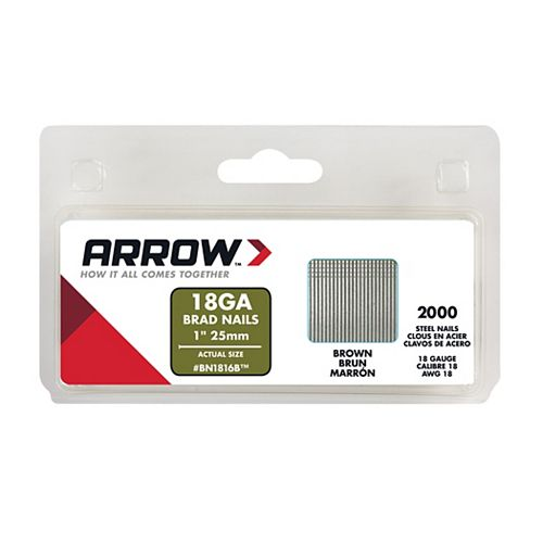 Arrow 1 Inch Brad Nails (2000-Pack) Brown