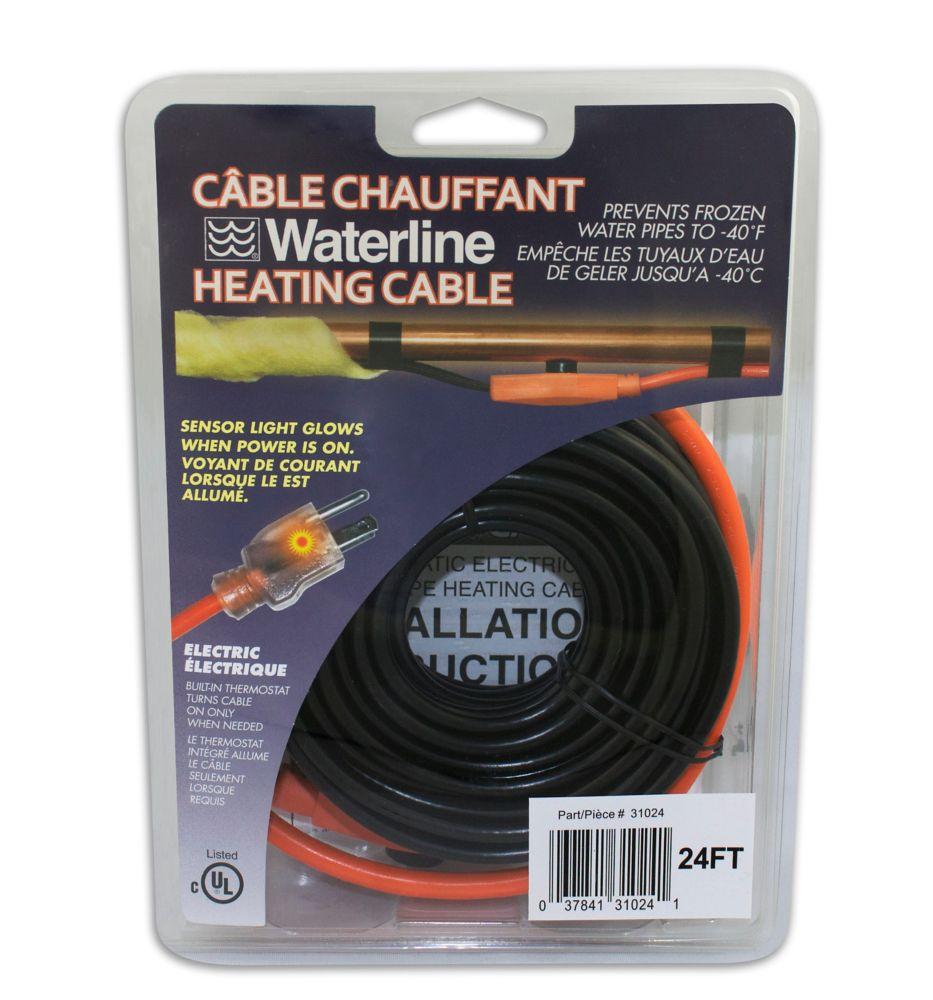 Câble chauffant électrique pour tuyaux de 24 pieds