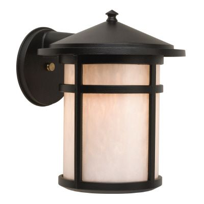 Residence, Downlight Wall Mount, Pearled Acrylic Diffuser, Black