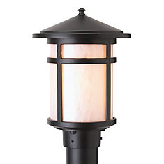 Residence Post-Mount Black Lamp Head with Pearled Acrylic Diffuser (Lamp Head Only)