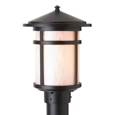 Résidence, luminaire sur poteau, diffuseur en acrylique nacré, noir (poteau non-inclus)