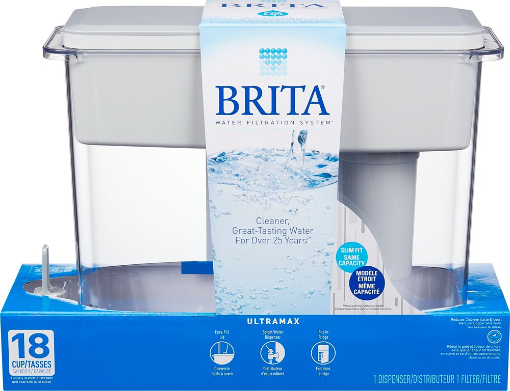 Brita UltraMax Water Filter Dispenser, White, 18 Cup