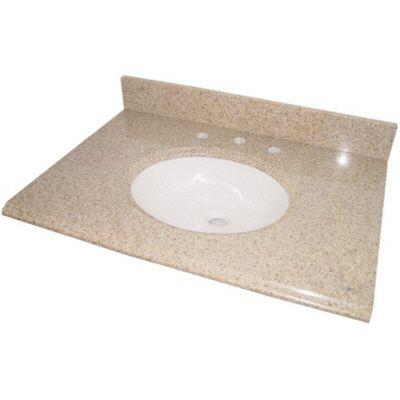 Dessus de meuble-lavabo en granit beige avec lavabo, 37 po