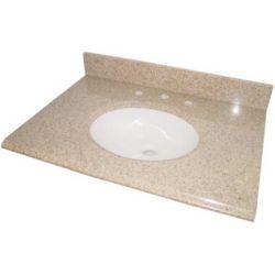 GLACIER BAY 37-inch Granite Vanity Top in Beige with White Basin
