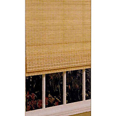 48 In. x 64 In. Bamboo Roman Shade W/Attached Valance - Natural