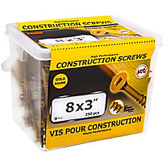 #8 x 3-inch Flat Head Square Drive Construction Screws in Gold - 250pcs