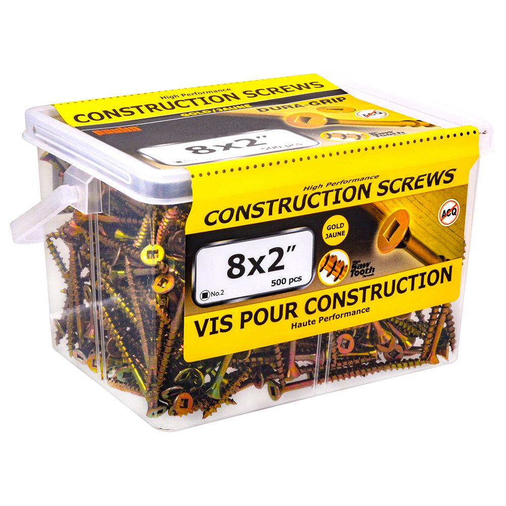 8x2 Construction Screws - 500 Pieces