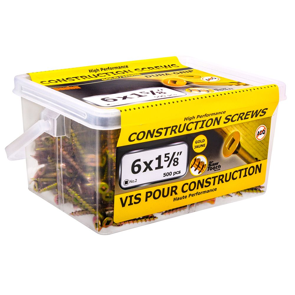 6x1-5/8 Construciton Screws - 500 Pieces