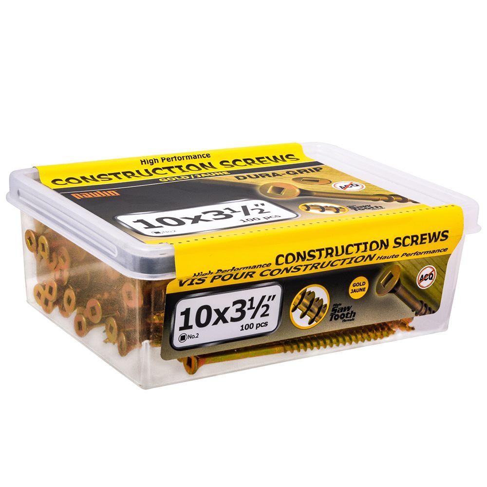 10x3-1/2 vis pour construction 100pcs