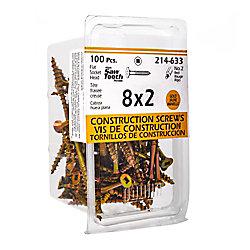 Paulin #8 x 2-inch Flat Head Square Drive Construction Screws in Gold - 100pcs
