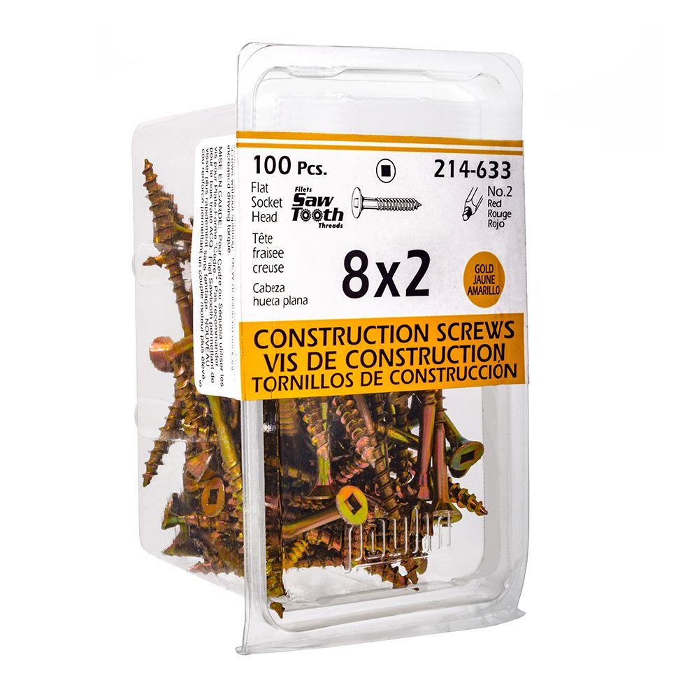 8x2 Construction Screws - 100 Pieces