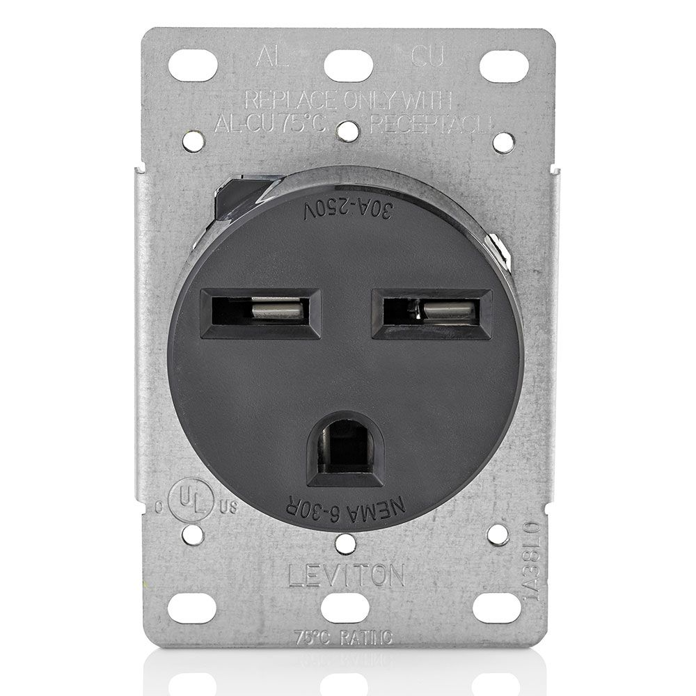 30 Amp Flush Mount Receptacle, 250v/6-30r