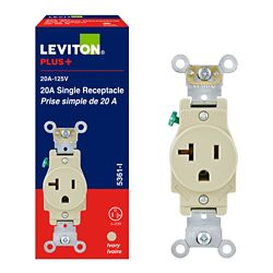 Leviton 20 Amp Single Receptacle, 125v, Ivory