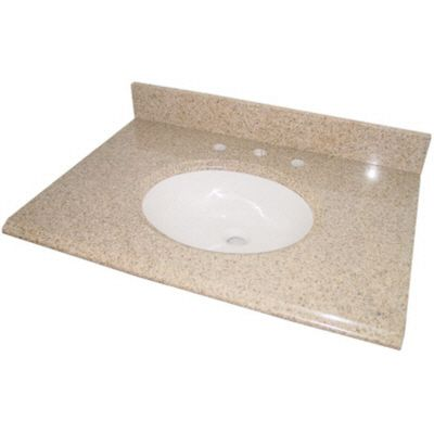 31 Inch Beige Granite Vanity Top With White Bowl