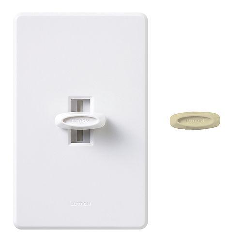 Lutron Glyder 600 Watt Single Pole Dimmer, White/Ivory