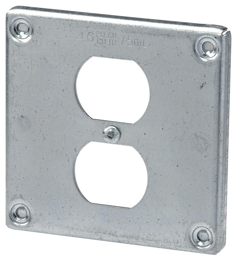 Couvercle carré 4 po pour une prise double