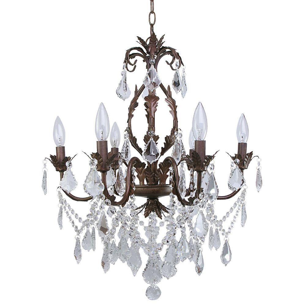 Heritage 6 Light Iron and Crystal Chandelier