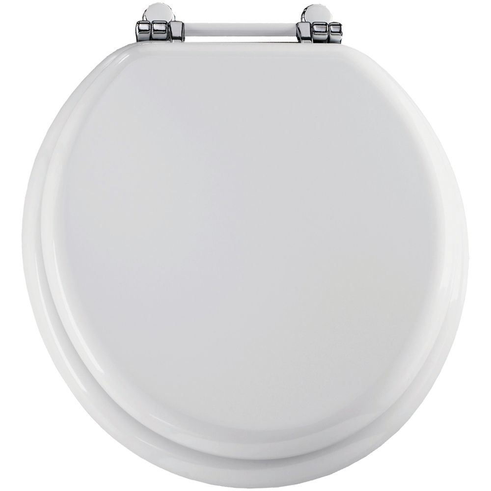 Round Moulded Wood Toilet Seat with Chrome Retro Bar Hinge in White