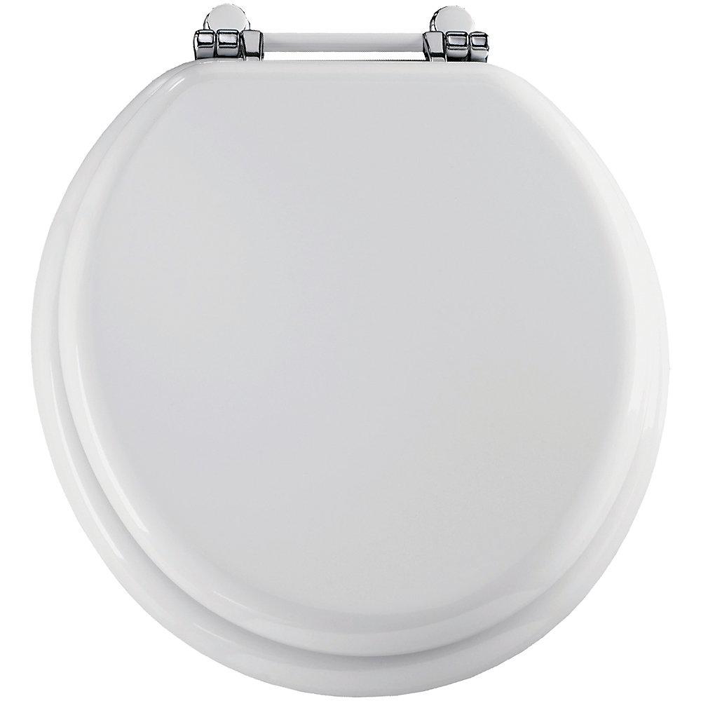 Round Wood Toilet Seat with Chrome Retro Bar Hinge in White