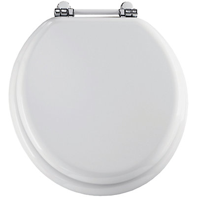 Bemis Round Wood Toilet Seat With Chrome Retro Bar Hinge In White - Bemis white toilet seat
