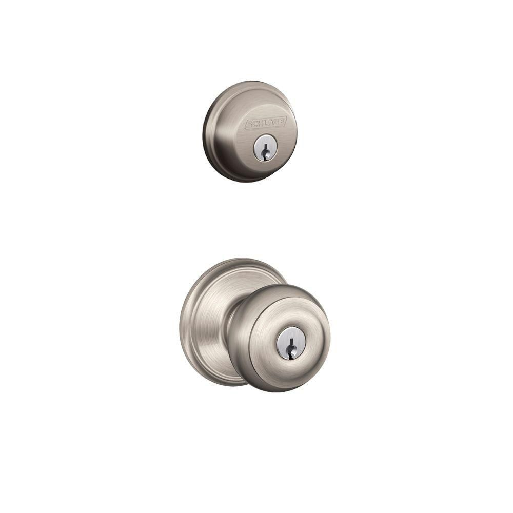schlage ensemble p ne dormant en nickel satin avec poign e de porte georgian home depot. Black Bedroom Furniture Sets. Home Design Ideas