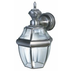 Heath Zenith Lanterne de carrosse suspendue de 150 degrés Heath Zenith avec verre transparent biseauté- argent