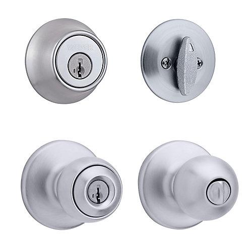 Yukon Satin Chrome Exterior Locking Knob Single Cylinder Deadbolt