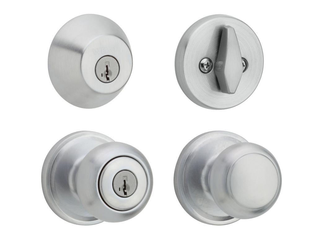 Troy Satin Chrome Knob Combo Pack Deadbolt