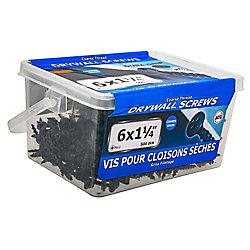 Paulin #6 x 1-1/4 po à tête plate Phillips Drive à filetage grossier Vis pour cloison sèche - 500 pièces