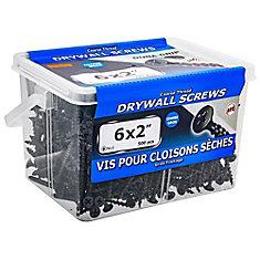 Vis à tête plate Phillips Drive à filetage grossier pour cloison sèche à tête plate #6 x 2 pouces - 500pcs