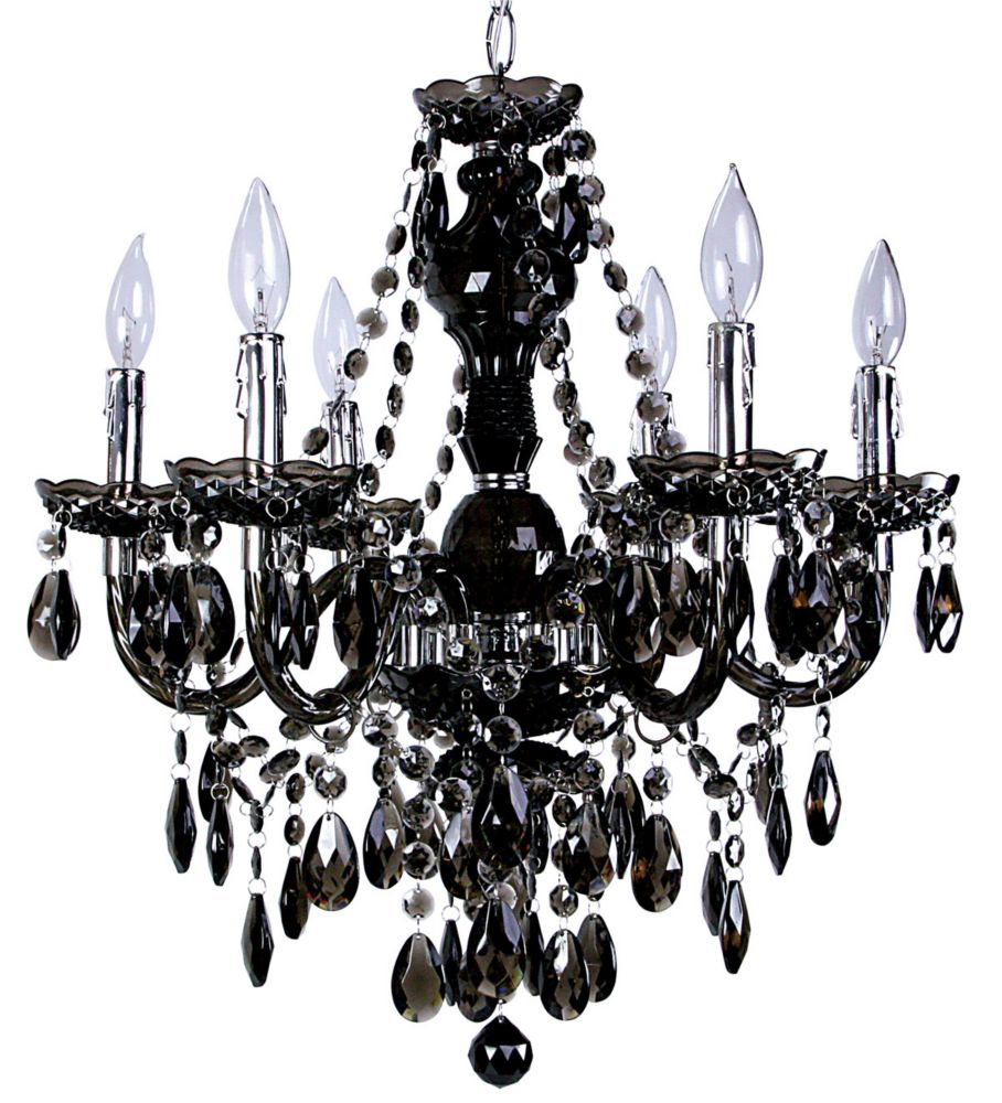 Titus Manufacturing Concerto 6 Light Black Chandelier The Home Depot Canada