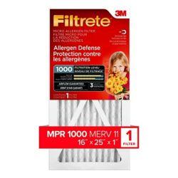 Filtrete Filters 16-inch x 25-inch x 1-inch Allergen Defense MPR 1000 Micro Allergen Furnace Filter