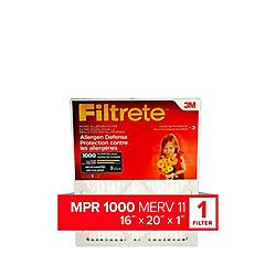 Filtrete Filters 16-inch x 20-inch x 1-inch Allergen Defense MPR 1000 Micro Allergen Filtrete Furnace Filter
