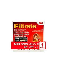 20-inch x 20-inch x 1-inch Allergen Defense MPR 1000 Micro Allergen Filtrete Furnace Filter