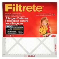 Filtrete Filters 20-inch x 20-inch x 1-inch Allergen Defense MPR 1000 Micro Allergen Filtrete Furnace Filter