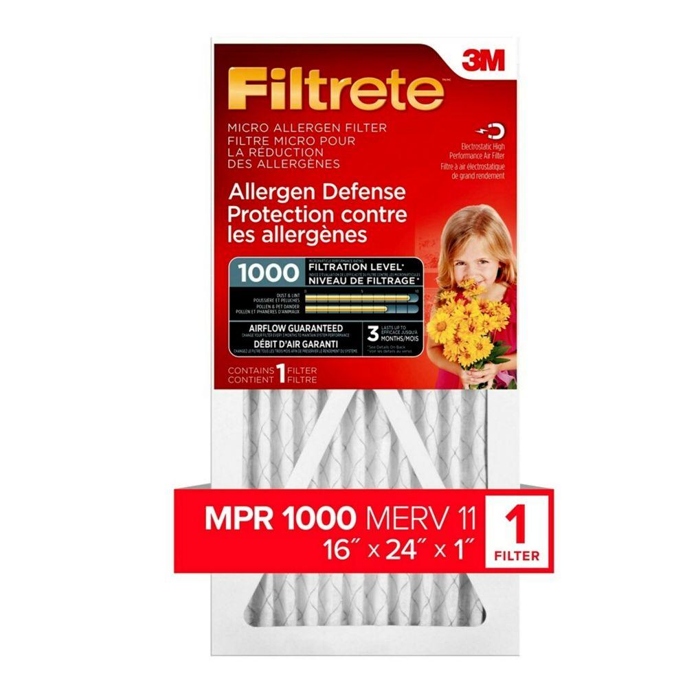 16-pouce x 24-pouce x 1-pouce Filtre micro MPR 1000 «Protection contre les allergènes» Filtrete...