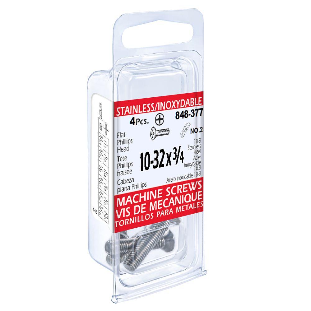 10-32x3/4 vis de mecanique phillips fraisee inox.