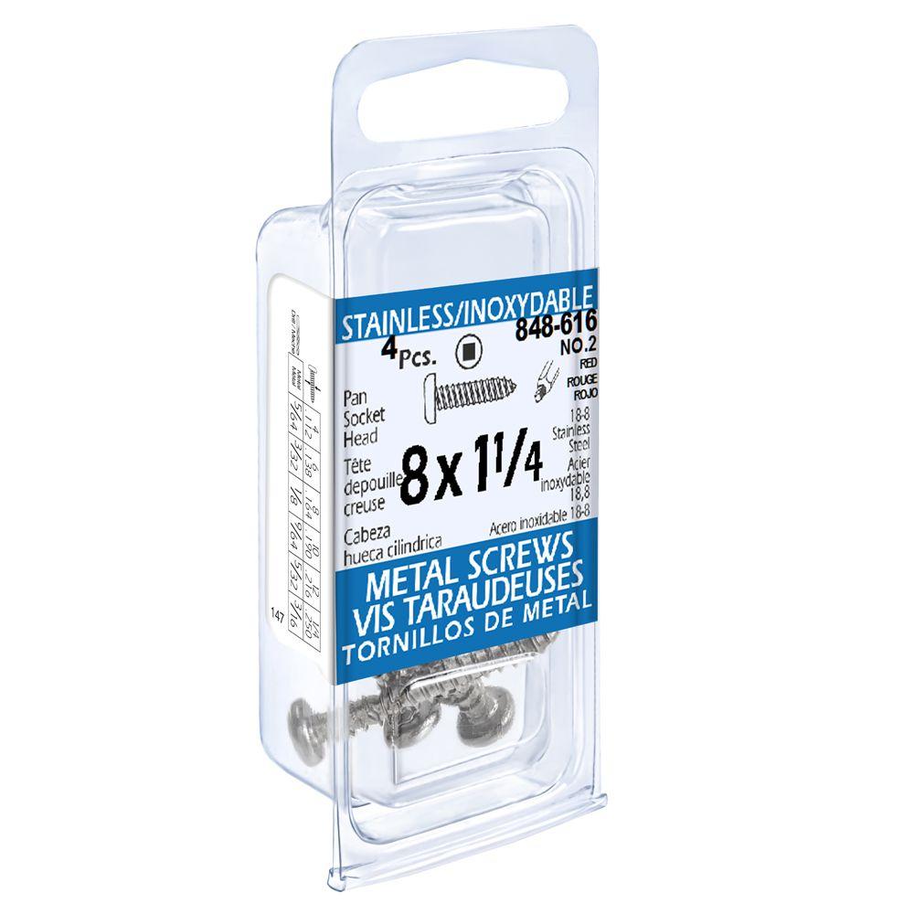 8x1-1/4 vis taraudeuses depouille creuse inox
