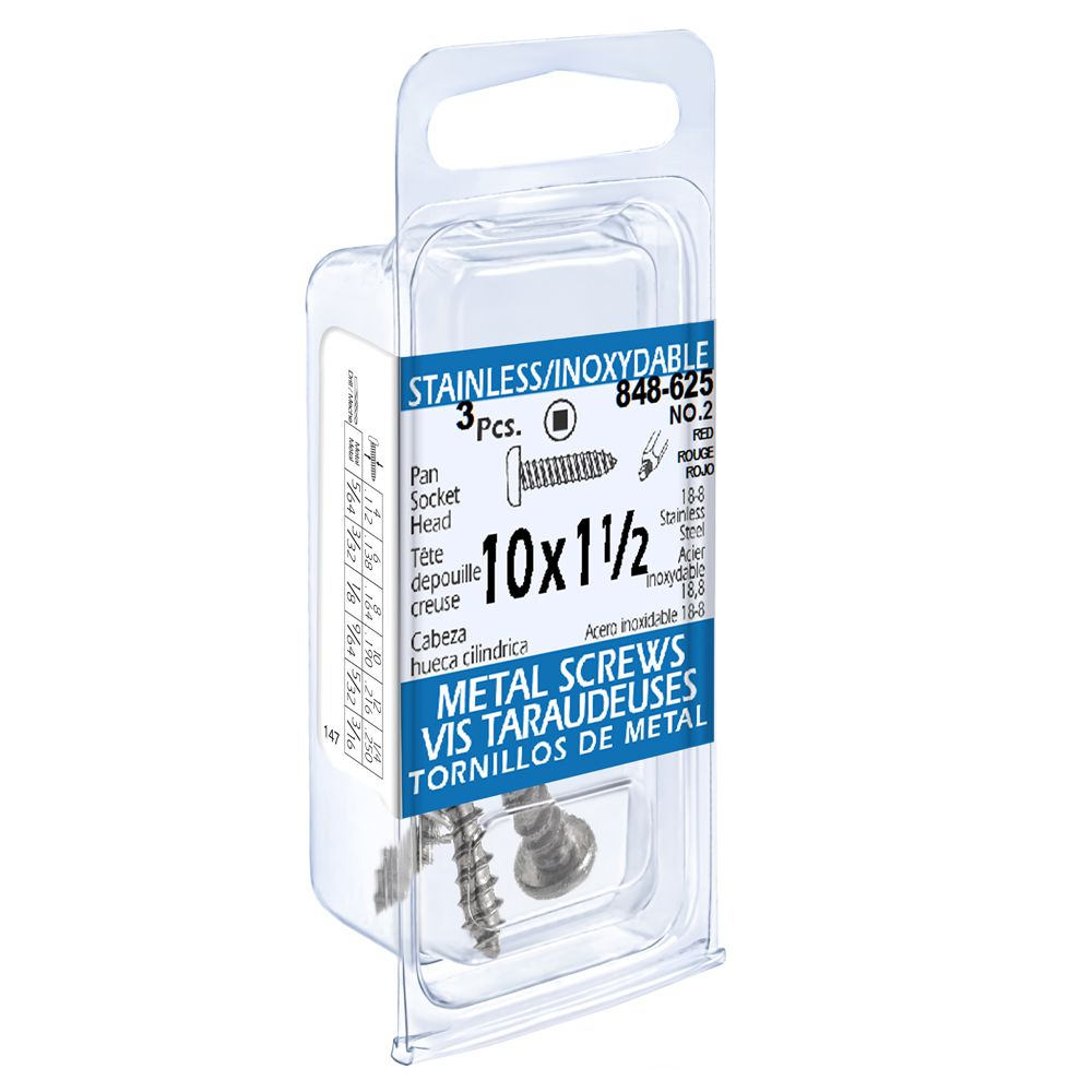 10x1-1/2 vis taraudeuses depouille creuse inox