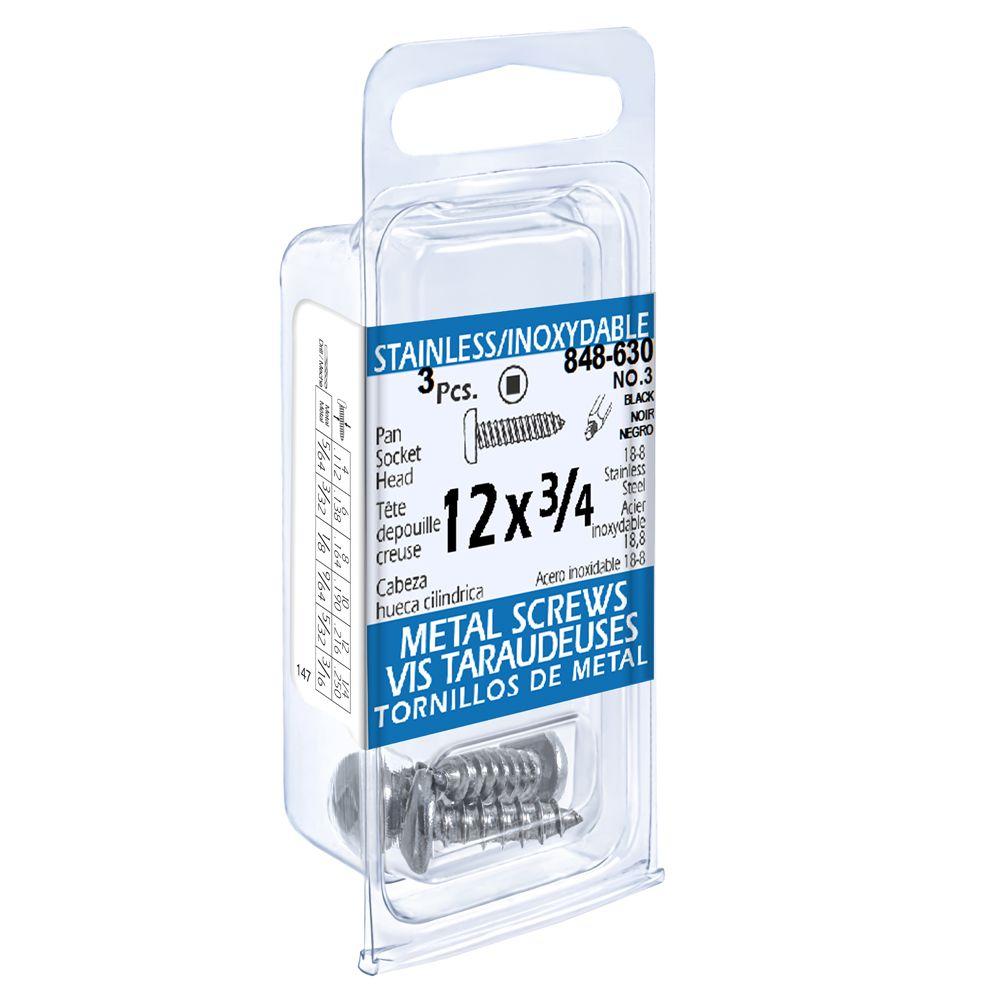 12x3/4 vis taraudeuses depouille creuse inox