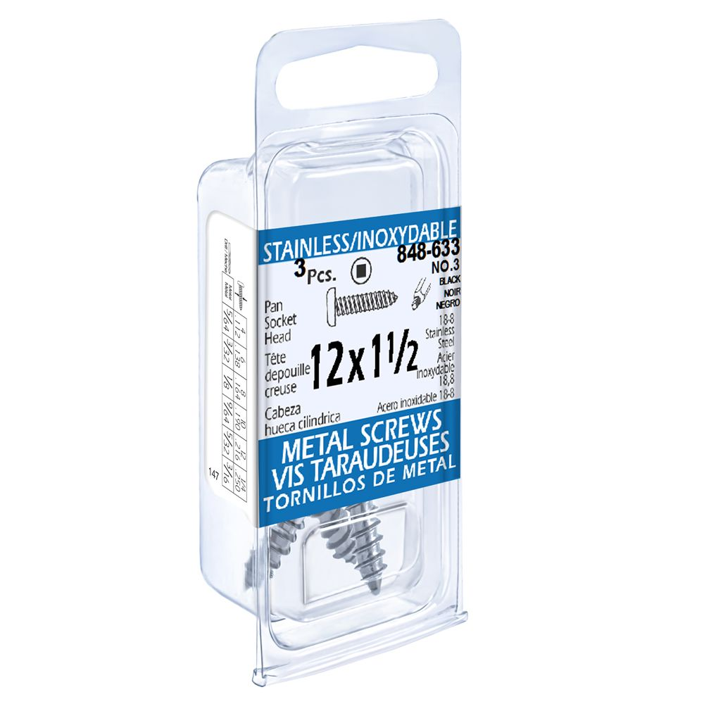 12x1-1/2 vis taraudeuses depouille creuse inox