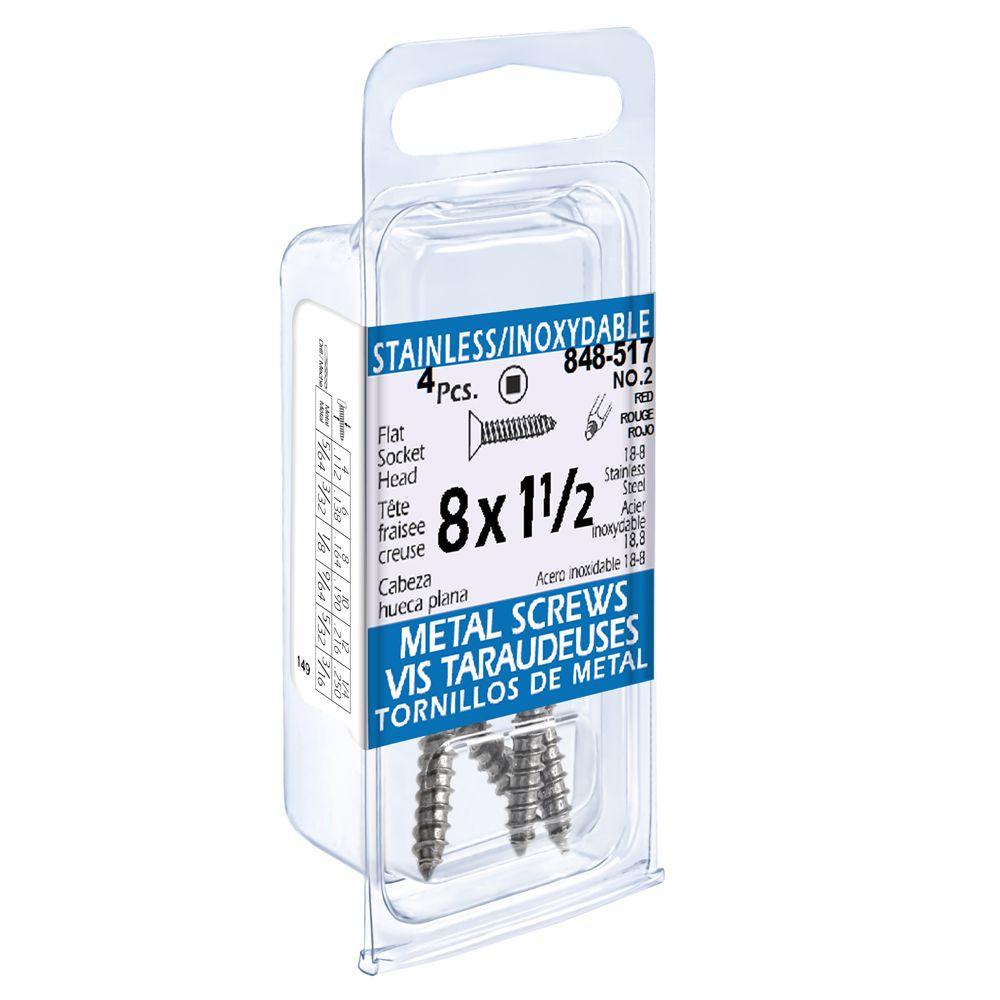 8X1-1/2 Flat Skt Hd Tapping Scr Ss