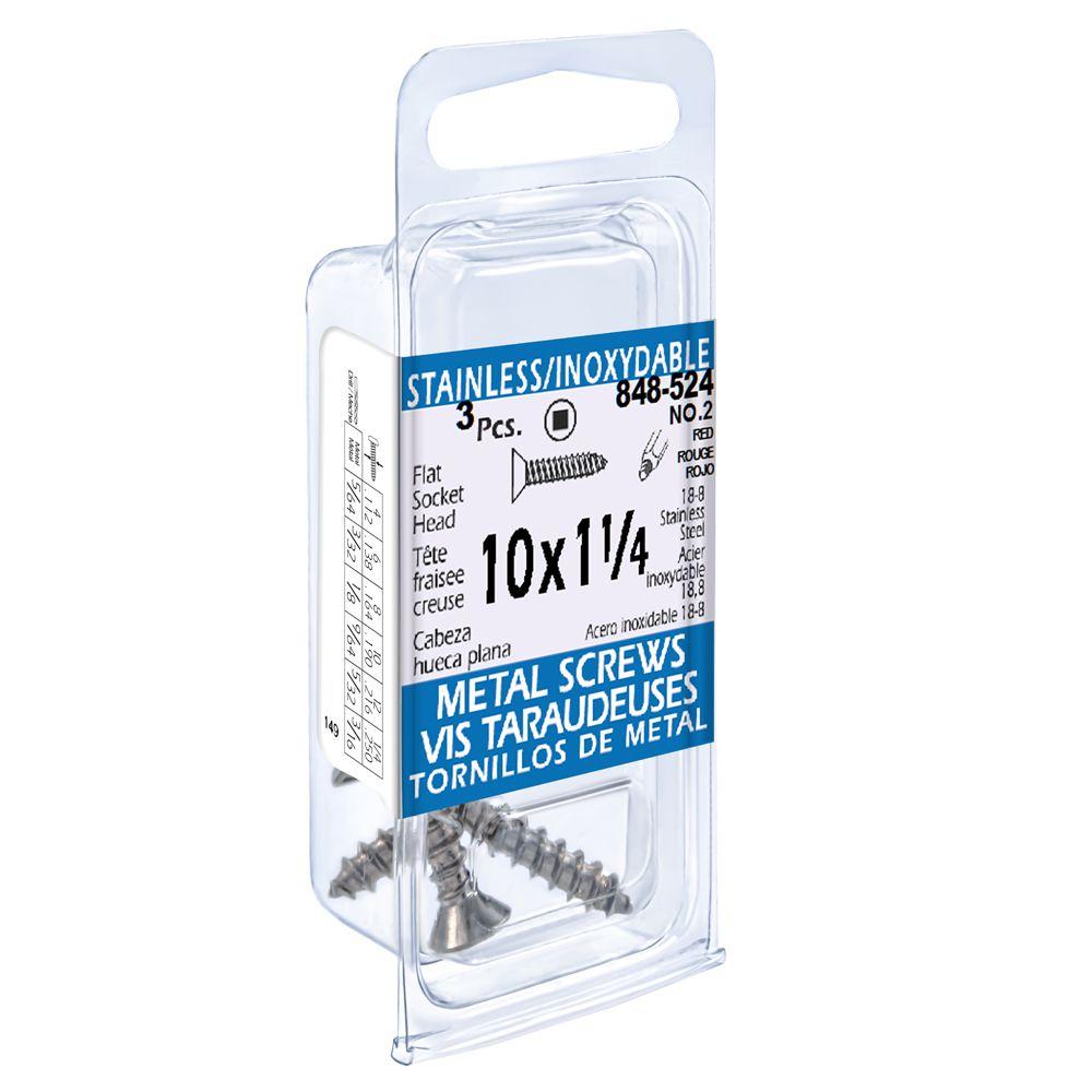 10X1-1/4 Flat Skt Hd Tapping Scr Ss